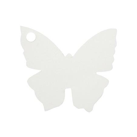 10 Etiquettes Dragées Papillon Blanc