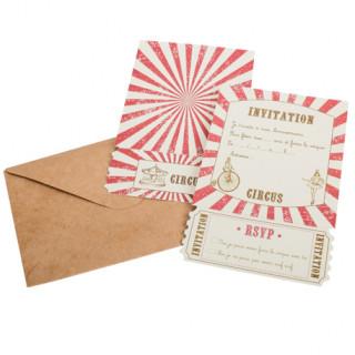 Invitations thème cirque + enveloppes x8