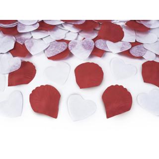 canon à confettis pétales rouge et coeur blanc