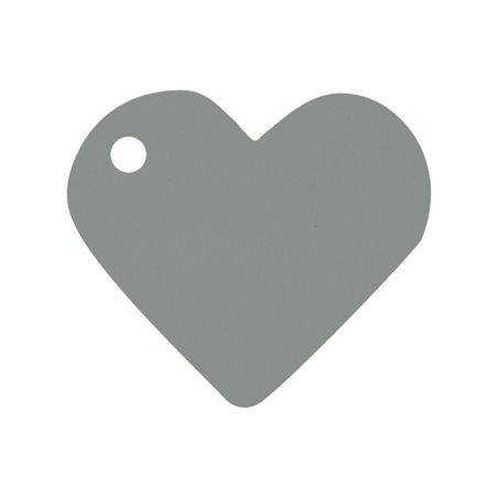 10 Etiquettes Dragées Coeur Gris