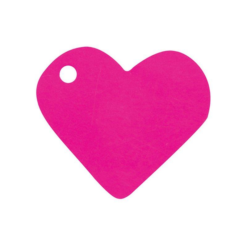 10 Etiquettes Dragees Coeur Fuchsia