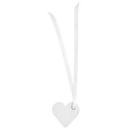12 Etiquettes Dragees Coeur Ruban Satin Blanc