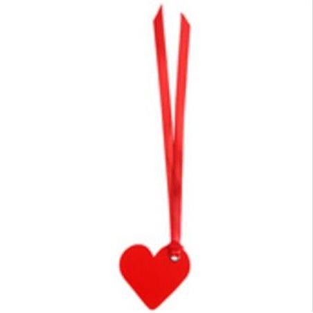 12 Etiquettes Dragees Coeur Ruban Satin Rouge
