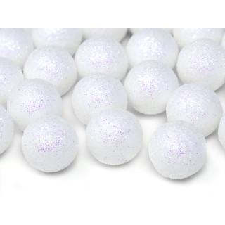 Boules blanches scintillantes à poser x 25
