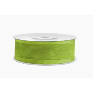Ruban vert en mousseline de soie 2,5 cm x 25 m