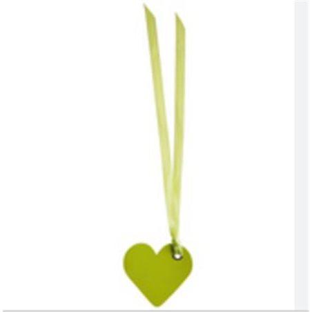 12 Etiquettes Dragees Coeur Ruban Satin Vert