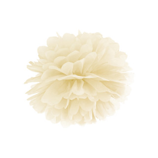 Pompon crème 35 cm en papier de soie