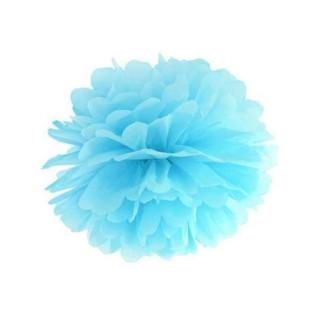 Pompon bleu ciel 35 cm en papier de soie