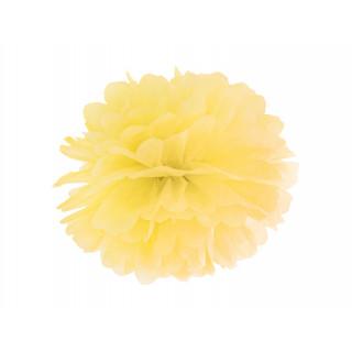 Pompon jaune 35 cm en papier de soie