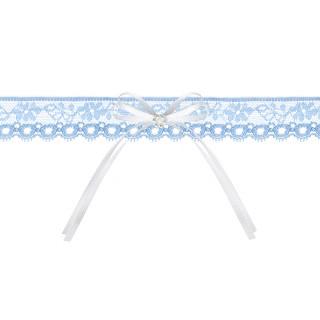 Jarretière mariage bleu ciel en dentelle