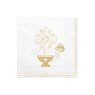 Serviettes papier baptême blanc et doré