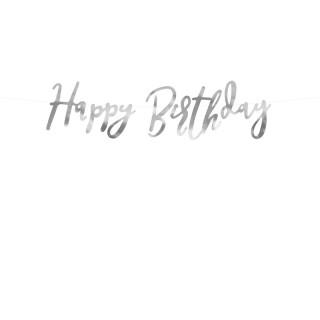 Guirlande argentée Happy Birthday