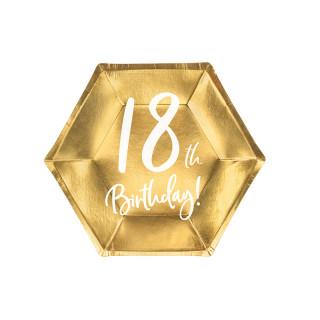 Assiettes carton anniversaire 18 ans dorées