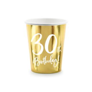 Gobelets carton anniversaire 30 ans dorés