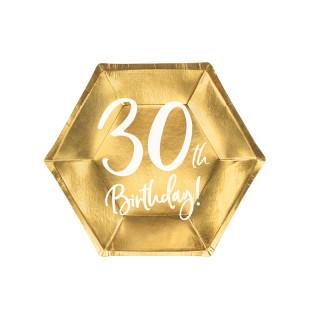 Assiettes carton anniversaire 30 ans dorées