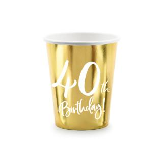 Gobelets carton anniversaire 40 ans dorés