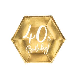 Assiettes carton anniversaire 40 ans dorées
