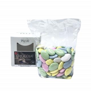 500gr Dragées 70% Chocolat multicolore Pécou