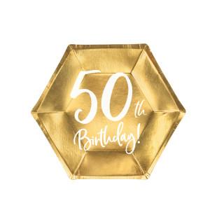 Assiettes carton anniversaire 50 ans dorées