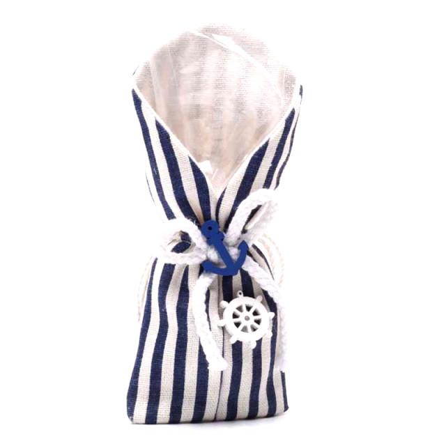 x5 Sachet Dragées Rayé Bleu Marin 18 cm