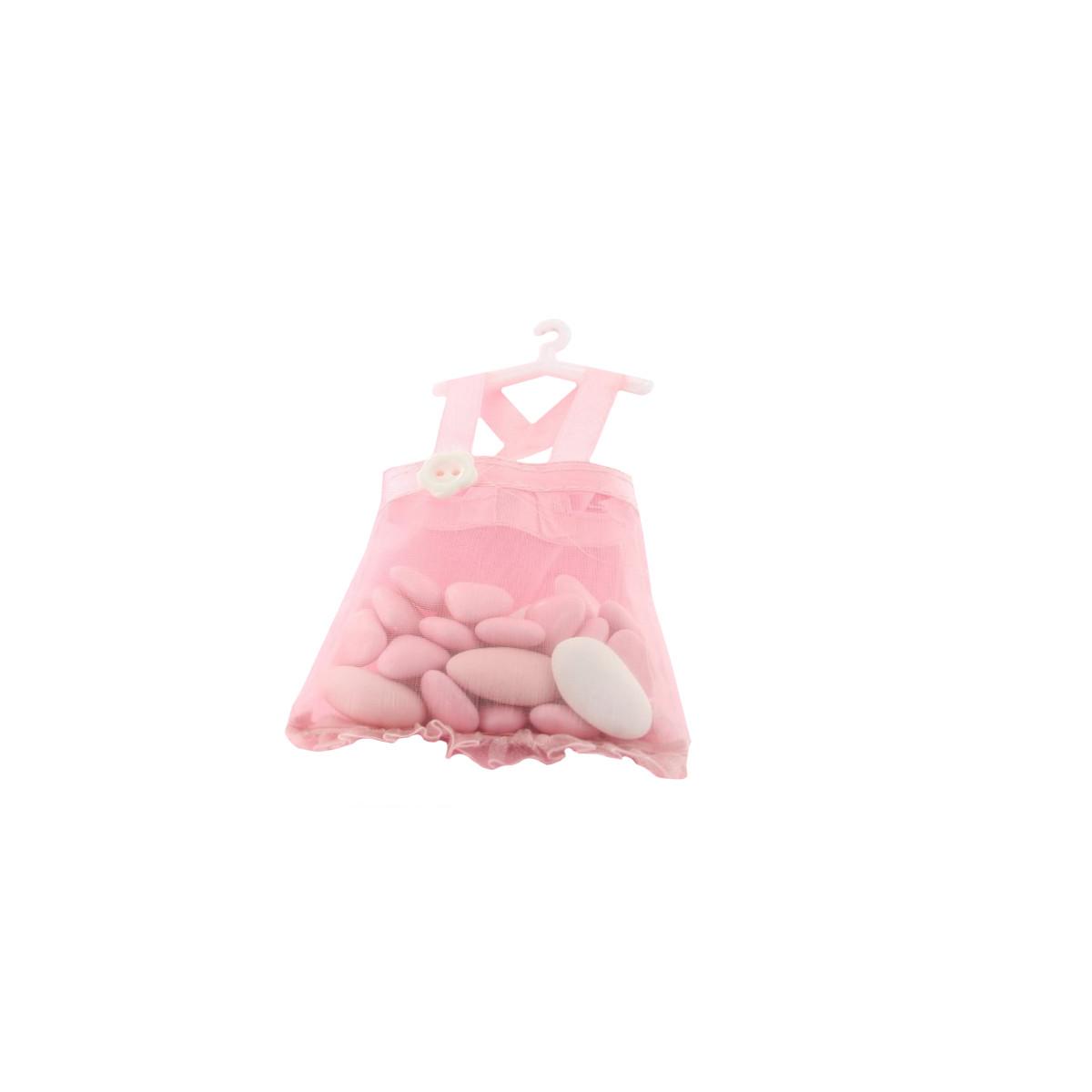 Contenant dragées robe rose