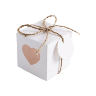 Boite Dragées Cube Coeur Blanc