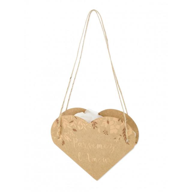 10 Boites Coeur kraft et bronze lien cordelette