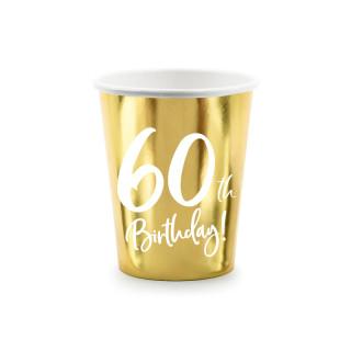 gobelets carton anniversaire 60 ans dorés