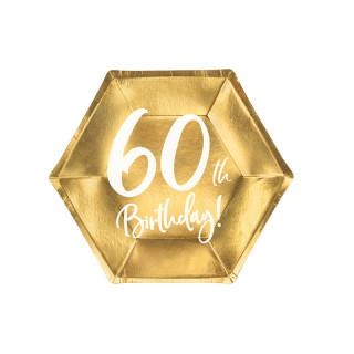Assiettes carton anniversaire 60 ans dorées
