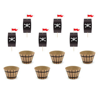 caissettes cupcakes et cake topper pirate