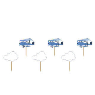 Cake topper nuage et avion bleu