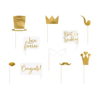 Accessoires photobooth mariage dorés