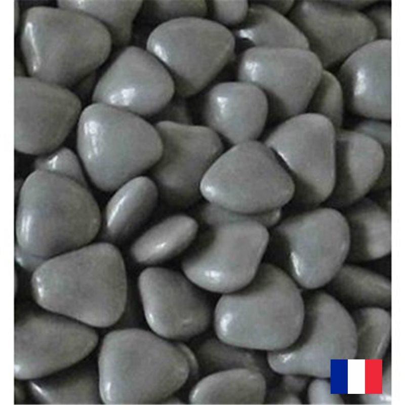 1Kg Dragées Coeur Chocolat - Gris