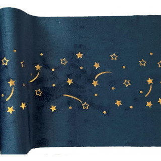 Chemin de table velours marine étoiles filantes or