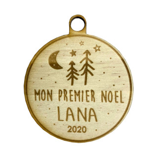 Boule Noël personnalisable en bois premier noël