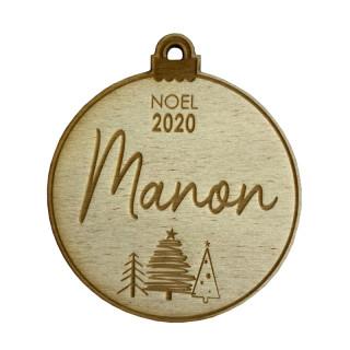 Boule de Noël personnalisable en bois