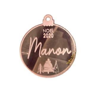 Boule de Noël personnalisable rose gold