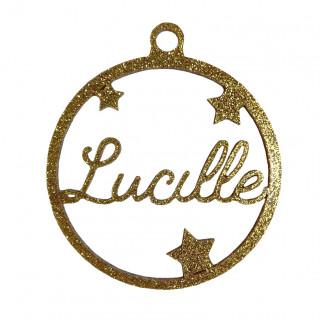Boule de Noël personnalisable or pailletée