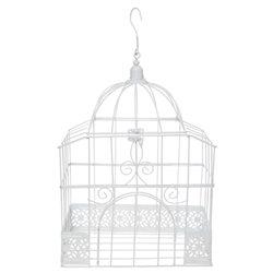 Cage Oiseau Deco Rectangle Blanc