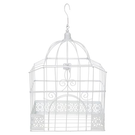 Cage Oiseau Deco Rectangle Blanc