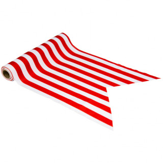 Chemin de table pirate rouge et blanc 28cm x 5m