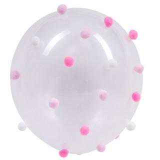 Ballons transparents avec pompon rose et blanc x5
