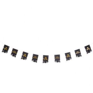 Guirlande anniversaire pirate noir et doré - 12.5cm x 18cm x 1.5m