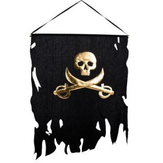 Drapeau pirate noir et or - 58x77cm