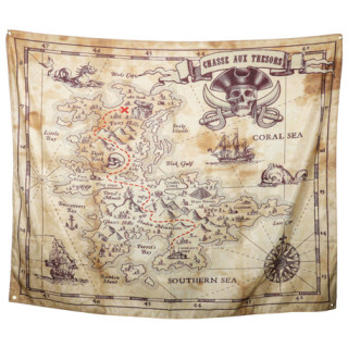 Poster en tissu chasse au trésor pirate - 1.50 x 1.90m