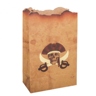 Sachets pirate kraft et or x4 - 9.5x15cm