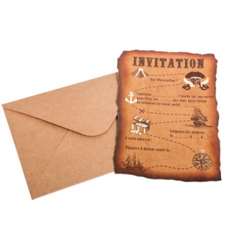 Invitations pirate + enveloppes kraft et or x8 - 10x15cm