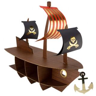 Présentoir bateau pirate or - 46.5cm x 40cm x 20cm