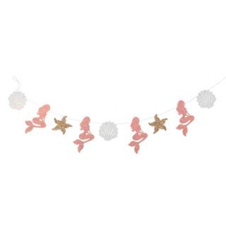 Guirlande sirène blanche rose et or - 1.60m