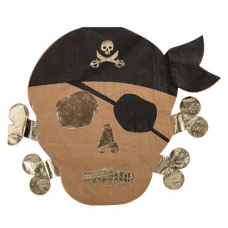 Serviettes pirate kraft et or x16 - 33x33cm